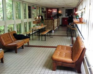 Het Gymlokaal van De School is omgetoverd tot een retro botanische tuin.